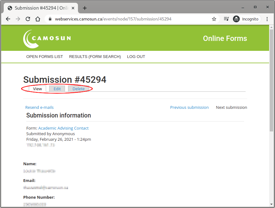 Screen shot of form submission detail