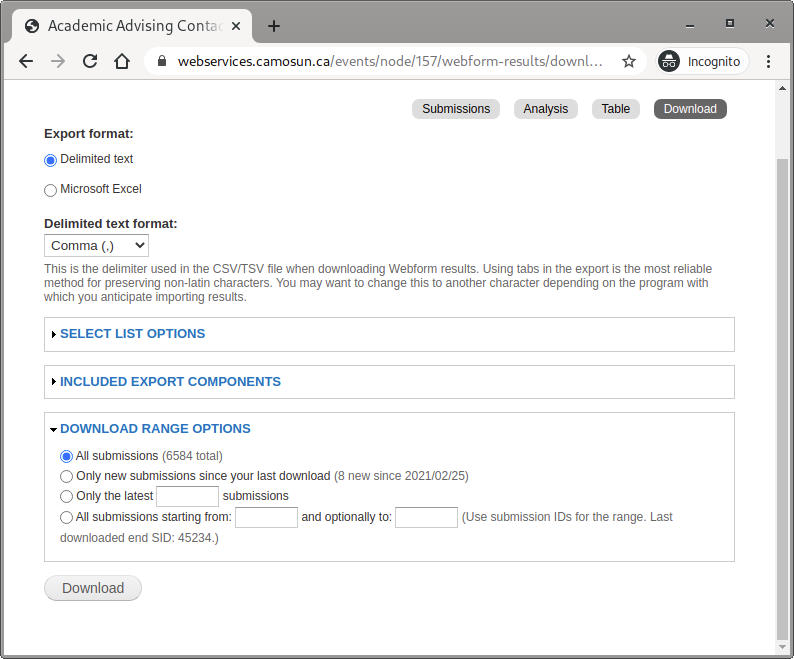 Screen shot of the download page showing download range options